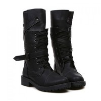 Wholesale Fashion Women's Mid-Calf Boots With Buckle and Lace-Up Design (BLACK,40), Boots - Rosewholesale.com