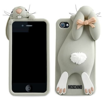 iPhone 4 / 5 Moschino Rabbit Silicone Case - Grey