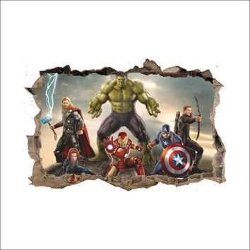 3D Broken Wall Decor The Avengers Wall Stickers for Kids Rooms Home Decor DIY Marvel Heroes Poster Mural Wallpaper Wall Decals
