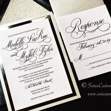 Black and Silver Glitter Wedding Invitation - Glitter Wedding Invitation - MICHELLE VERSION