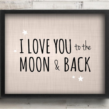 I Love You to the Moon & Back Nursery Decor - Celestial Stars Blue Nursery Art - Baby Boy Nursery Wall Art - Guess How Much I Love You Quote