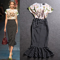 Dots Mermaid Flower Print Slim Hot Middle Skirt