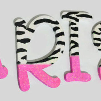 GLITTER Animal Print Decorative Wall Letters (wood), Nursery Decor, Baby Shower Gift