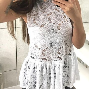 White Draped Lace Cut Out Peplum Bodycon Going out Blouse