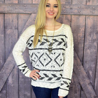 Terra Tribal White Metallic Knit Sweater