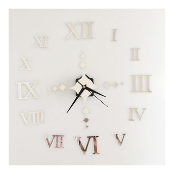 Roman Digit Wall Clock Decoration Sticking    silver