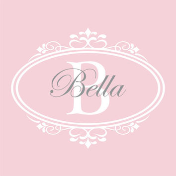 Personalized Baby Nursery Name Decal - Shabby Chic Frame Name and Initial Baby Girl Nursery Teen Girls Room Vinyl Wall Art 22H x 28W GN032