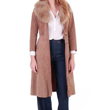 70s Vintage Tan Suede and Shearling Coat Tailored Chic Fit Long Penny Lane Boho Hippie Retro Winter Jacket Clothing Womens Size XS