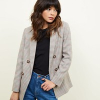 Brown Check Double Breasted Blazer | New Look