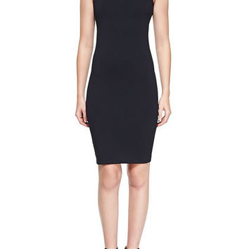 Turtleneck Fitted Stretch Ponte Dress