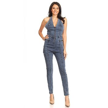 Fitted Denim Jumpsuit With Halter Neck, Low Back, And Zipper Detail