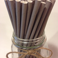 25 Solid Khaki Grey Paper Straws // baby bridal shower decorations / candy dessert buffet table // wedding / First birthday / new year party