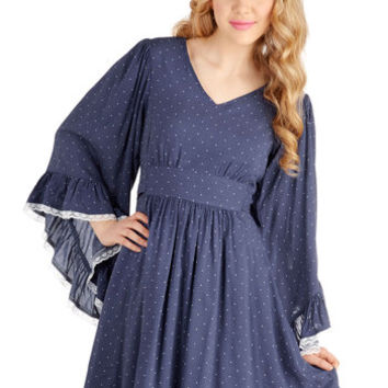 Bea & Dot Festival Mid-length Long Sleeve A-line Through the Bluebells Dress