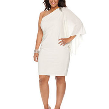 R&M Richards Plus Size Dress, Three Quarter Flutter Sleeve One Shoulder Beaded Cocktail Dress - Plus Size Dresses - Plus Sizes - Macy's