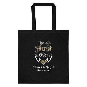 The Hunt is Over Tote Personalized with Your Names and Date