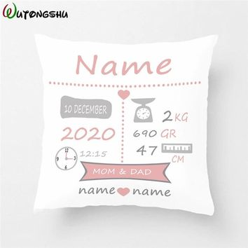 Baby Birth Announcement Pillow Cases Personalized Birth Stats Pillow Cover Nursery Pillow New Baby Gift Decorative Cushion Cover