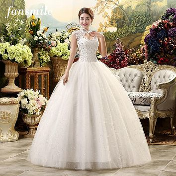 Fansmile Cheap Vintage Lace Wedding Dresses Real Photo Belt Wedding Plus Size Bridal Ball Gown Vestidos de Noivas Free Shipping
