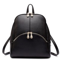 Buenocn Women Pu Soft Leather Lovely Backpack Cute Schoolbag Shoulder Bag Shy559 (black)