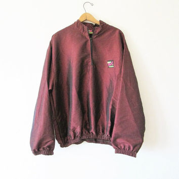 Vintage 1990s Maroon Iridescent Surf Style Pullover Windbreaker Jacket One Size Fit All
