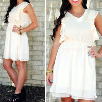 Whimsy Crush Ivory Ruffle Dress