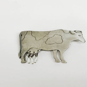 Vintage Cow Brooch Pin Full Body Silver Toned With Beaded Hanging Udders Animal Shaped Jewelry Farm Animals Lapel Pin