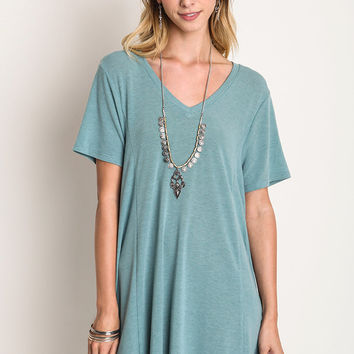 Deep V Tee Dress - Seafoam