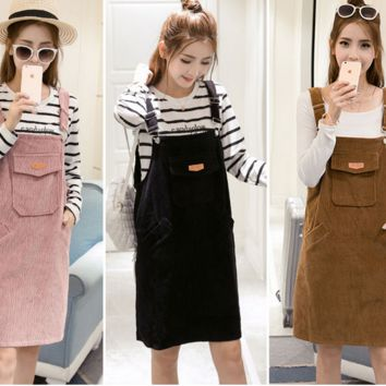 All-match corduroy suspender skirt loose dress
