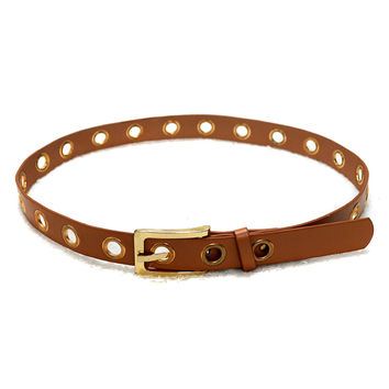 Brown Faux Leather Eyelet Pin Buckle Belt