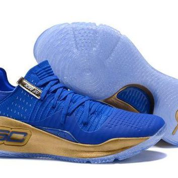LMFONVX Jacklish New Stephen Curry Ua Curry 4 Lows Royal Blue And Gold For Sale