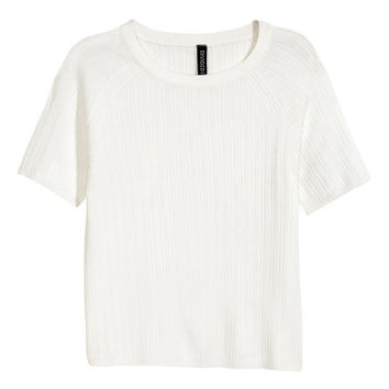 Rib-knit Short-sleeved Top - from H&M