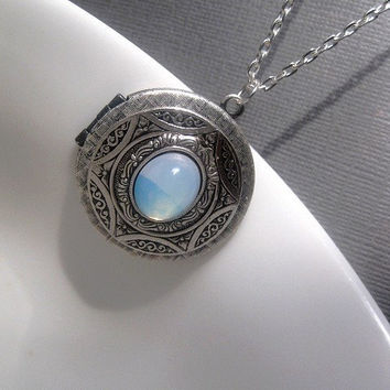 Locket - Blue Opal Necklace - Opal Locket - Cabochon Locket - Star - Aztec
