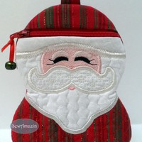 Santa Claus in Red and Green Sparkle Stripes Gift Holder, Zipper Case