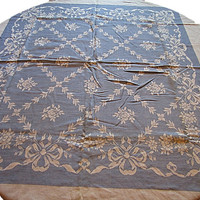 Vintage Embroidered Tablecloth |  Blue and White Linen | Vintage Table Cloth