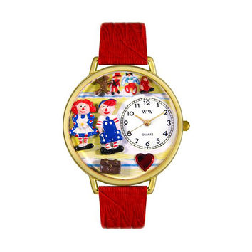 Whimsical Watches Raggedy Ann & Andy Navy Blue Leather And Goldtone Watch