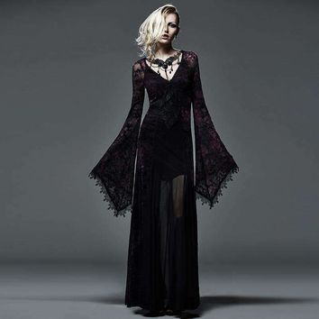 Flocking Dark Violet Gothic Long Dress For Women Steampunk Lace Embroidery Flare Sleeve Dresses Party Sexy Ladies Dress