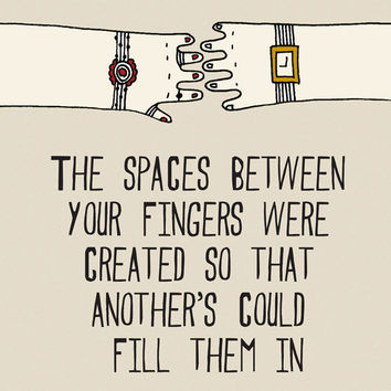The spaces between your fingers were created by Gayana on Etsy