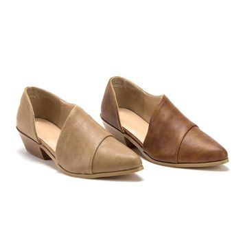 Women's Pointed Toe Open Side Cut Out Flats Ankle Bootie Shoes