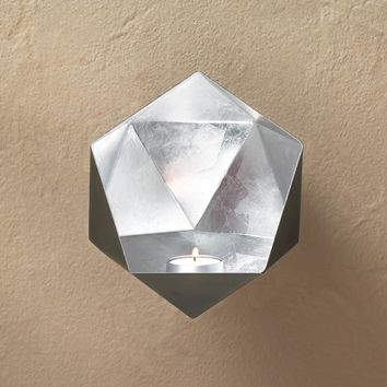 Silver Geometric Wall Candle Sconce