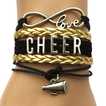 Infinity Love Cheer  Bracelets- Leather Wrap Retro Cheering Charm Friendship Gift