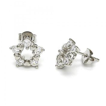 Sterling Silver 02.285.0027 Stud Earring, Star and Heart Design, with White Cubic Zirconia, Polished Finish, Rhodium Tone