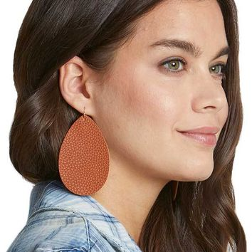 Faux Leather Tear Drop Earrings