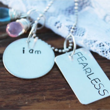 "Personalized, Inspirational, Motivational, Hand Stamped, Sterling Silver Necklace, ""i am FEARLESS"""