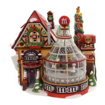 Department 56 House M&MS CANDY FACTORY Porcelain North Pole Retired 55763 .