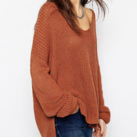 Loose Sweater in Brown with Long Sleeves Fall Winter Fashion Sweater