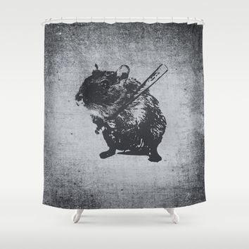 Angry street art mouse / hamster (baseball edit) Shower Curtain by Badbugs_art | Society6