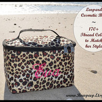 Leopard Pattern Monogrammed Cosmetic Bag with Handle - Animal Print, Wild Cheetah Women's Ladies Girls Make Up Case Personalized