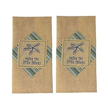 """Newport Starfish """"Enjoy The Little Things"""" - Set of 2 - Hand Embroidered Cotton Kitchen Dish Towels"""