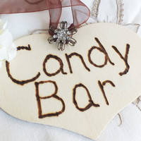 Wedding candy bar wood heart with rhinestone embellishment DIY wedding decor
