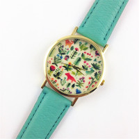 Fashion Design Women's Analog Quartz Wrist Watch Leather Animal Floral Printed Ladies Dress Watches