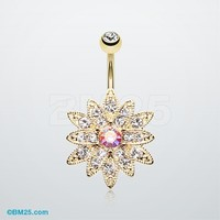 Golden Chrysanthemum Flower Belly Button Ring